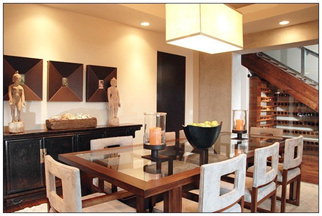 Pendant lighting over dining room table