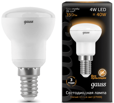 Лампа Gauss LED Reflector R39 E14 4W 2700K
