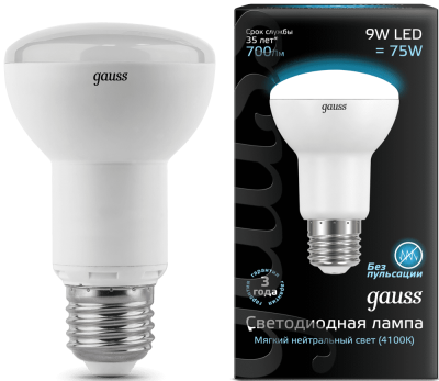Лампа Gauss LED Reflector R63 E27 9W 4100K